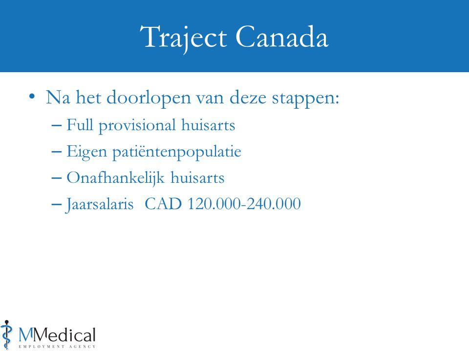 Na het doorlopen van deze stappen: – Full provisional huisarts – Eigen patiëntenpopulatie – Onafhankelijk huisarts – Jaarsalaris CAD 120.000-240.000 Traject Canada