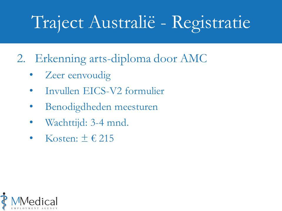 2. Erkenning arts-diploma door AMC Zeer eenvoudig Invullen EICS-V2 formulier Benodigdheden meesturen Wachttijd: 3-4 mnd. Kosten: ± € 215 Traject Austr