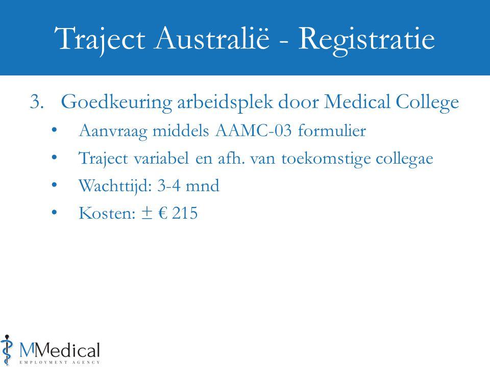 3. Goedkeuring arbeidsplek door Medical College Aanvraag middels AAMC-03 formulier Traject variabel en afh. van toekomstige collegae Wachttijd: 3-4 mn