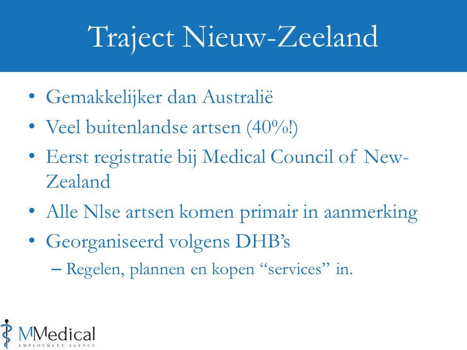 Gemakkelijker dan Australië Veel buitenlandse artsen (40%!) Eerst registratie bij Medical Council of New- Zealand Alle Nlse artsen komen primair in aanmerking Georganiseerd volgens DHB's – Regelen, plannen en kopen services in.