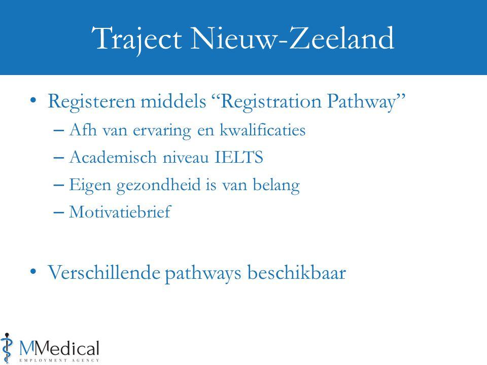 Registeren middels Registration Pathway – Afh van ervaring en kwalificaties – Academisch niveau IELTS – Eigen gezondheid is van belang – Motivatiebrief Verschillende pathways beschikbaar Traject Nieuw-Zeeland