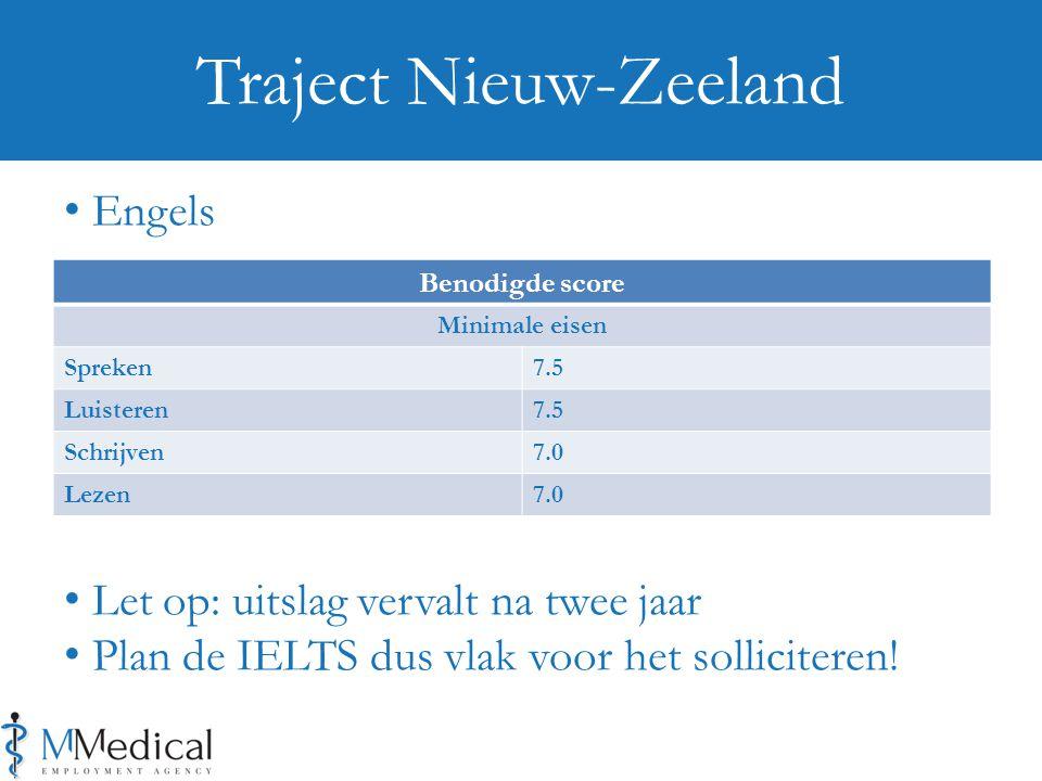Benodigde score Minimale eisen Spreken7.5 Luisteren7.5 Schrijven7.0 Lezen7.0 Traject Nieuw-Zeeland Engels Let op: uitslag vervalt na twee jaar Plan de IELTS dus vlak voor het solliciteren!