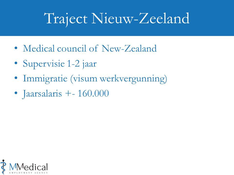 Medical council of New-Zealand Supervisie 1-2 jaar Immigratie (visum werkvergunning) Jaarsalaris +- 160.000 Traject Nieuw-Zeeland