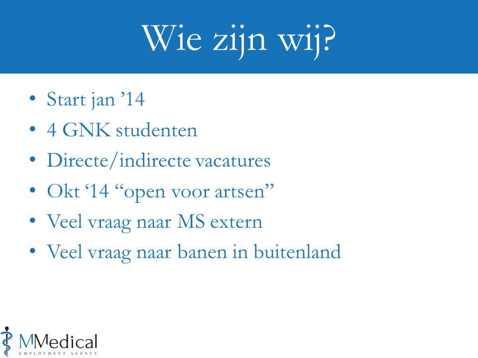Start jan '14 4 GNK studenten Directe/indirecte vacatures Okt '14 open voor artsen Veel vraag naar MS extern Veel vraag naar banen in buitenland Wie zijn wij?