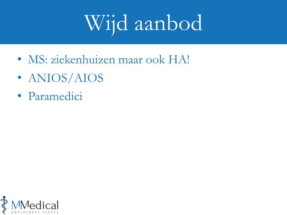 MS: ziekenhuizen maar ook HA! ANIOS/AIOS Paramedici Wijd aanbod