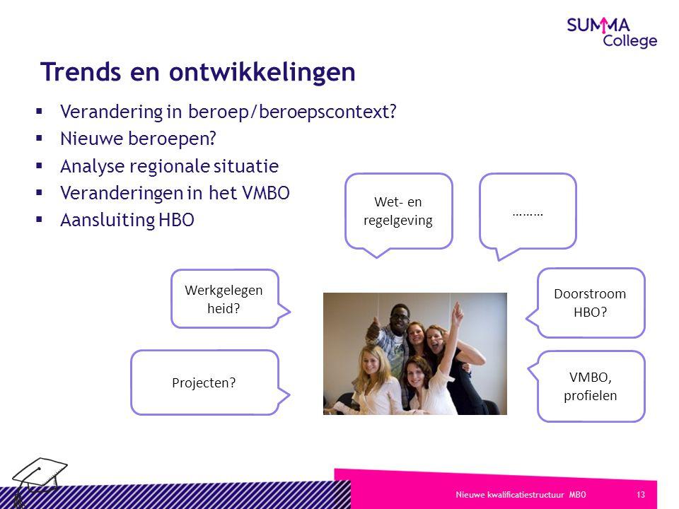 13Nieuwe kwalificatiestructuur MBO Trends en ontwikkelingen  Verandering in beroep/beroepscontext.