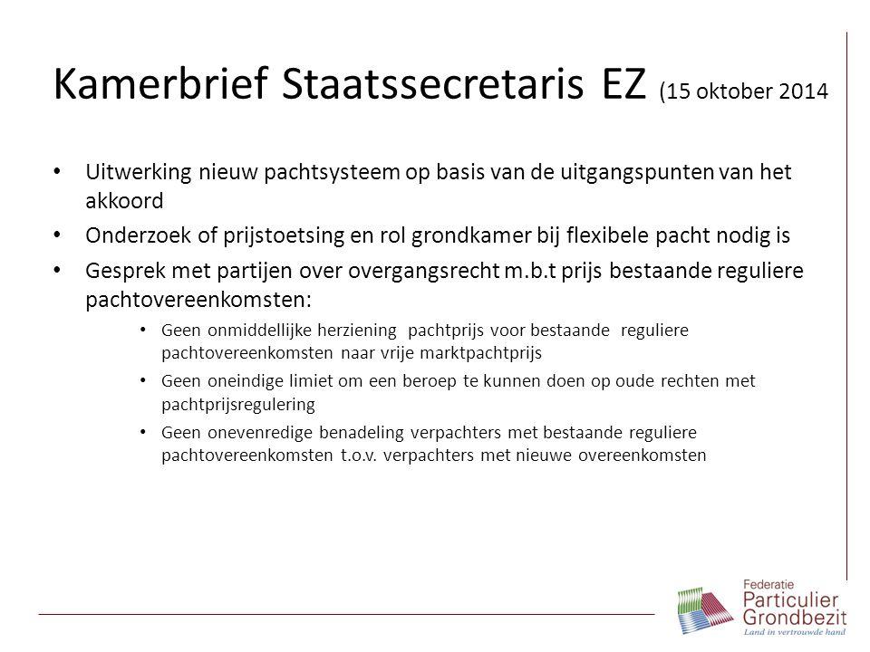 Kamerbrief Staatssecretaris EZ (15 oktober 2014 Uitwerking nieuw pachtsysteem op basis van de uitgangspunten van het akkoord Onderzoek of prijstoetsin