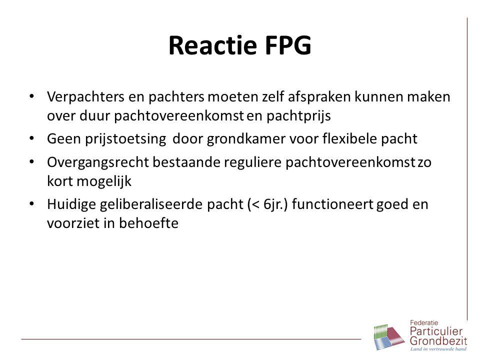Reactie FPG Verpachters en pachters moeten zelf afspraken kunnen maken over duur pachtovereenkomst en pachtprijs Geen prijstoetsing door grondkamer vo