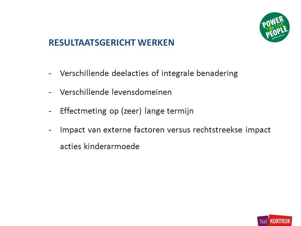 RESULTAATSGERICHT WERKEN -Verschillende deelacties of integrale benadering -Verschillende levensdomeinen -Effectmeting op (zeer) lange termijn -Impact