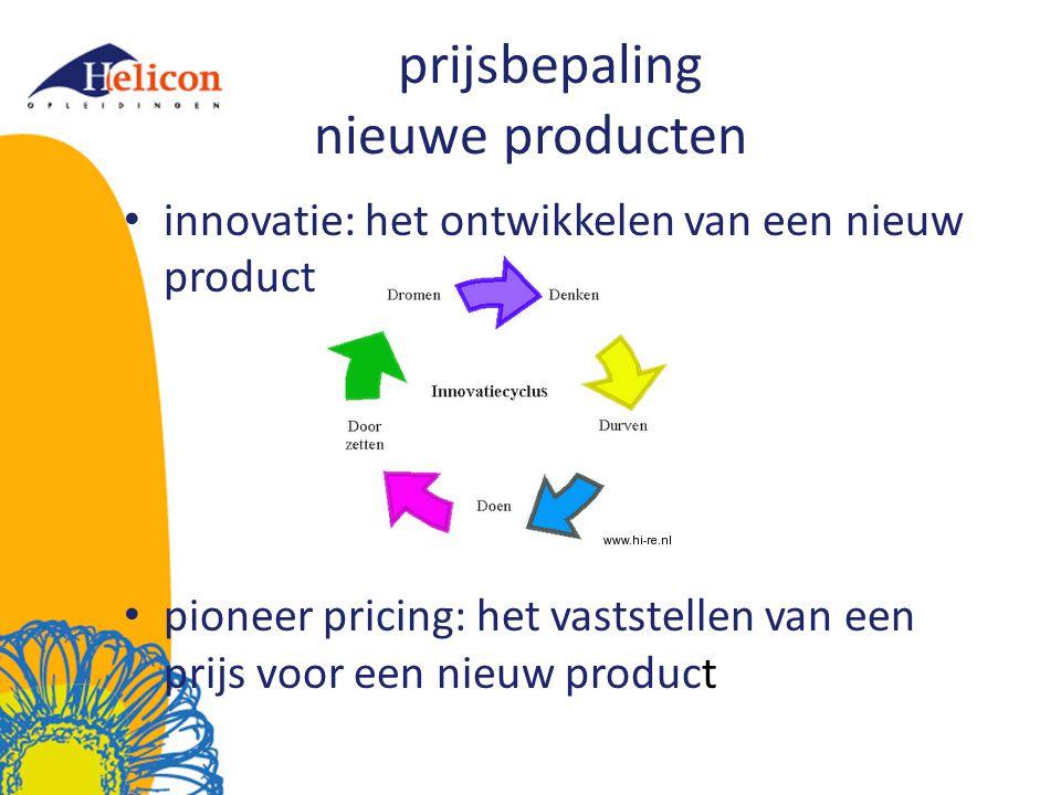 prijsbepaling nieuwe producten innovatie: het ontwikkelen van een nieuw product pioneer pricing: het vaststellen van een prijs voor een nieuw product
