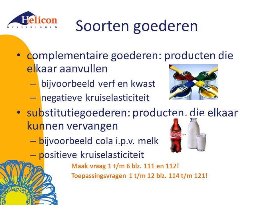 Soorten goederen complementaire goederen: producten die elkaar aanvullen – bijvoorbeeld verf en kwast – negatieve kruiselasticiteit substitutiegoedere