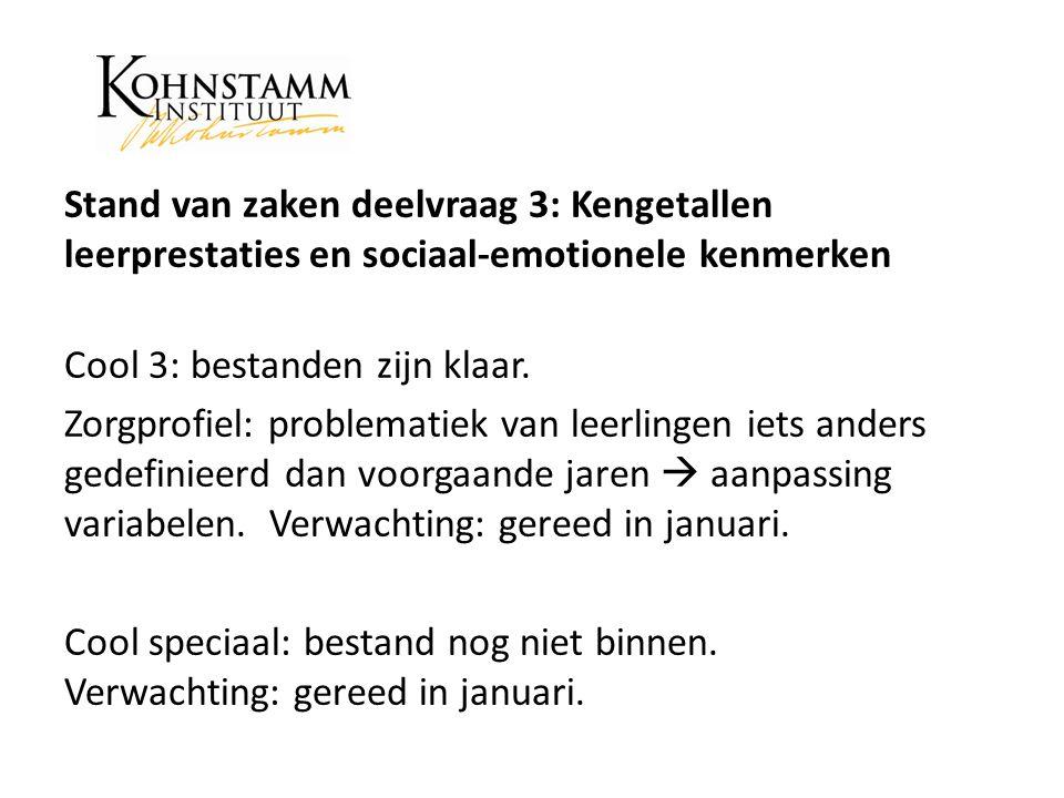 Stand van zaken deelvraag 3: Kengetallen leerprestaties en sociaal-emotionele kenmerken Cool 3: bestanden zijn klaar.