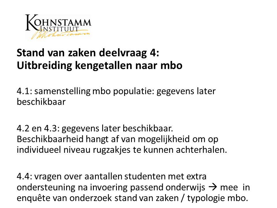 Stand van zaken deelvraag 4: Uitbreiding kengetallen naar mbo 4.1: samenstelling mbo populatie: gegevens later beschikbaar 4.2 en 4.3: gegevens later beschikbaar.