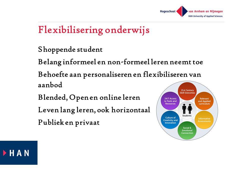 Flexibilisering onderwijs Shoppende student Belang informeel en non-formeel leren neemt toe Behoefte aan personaliseren en flexibiliseren van aanbod Blended, Open en online leren Leven lang leren, ook horizontaal Publiek en privaat