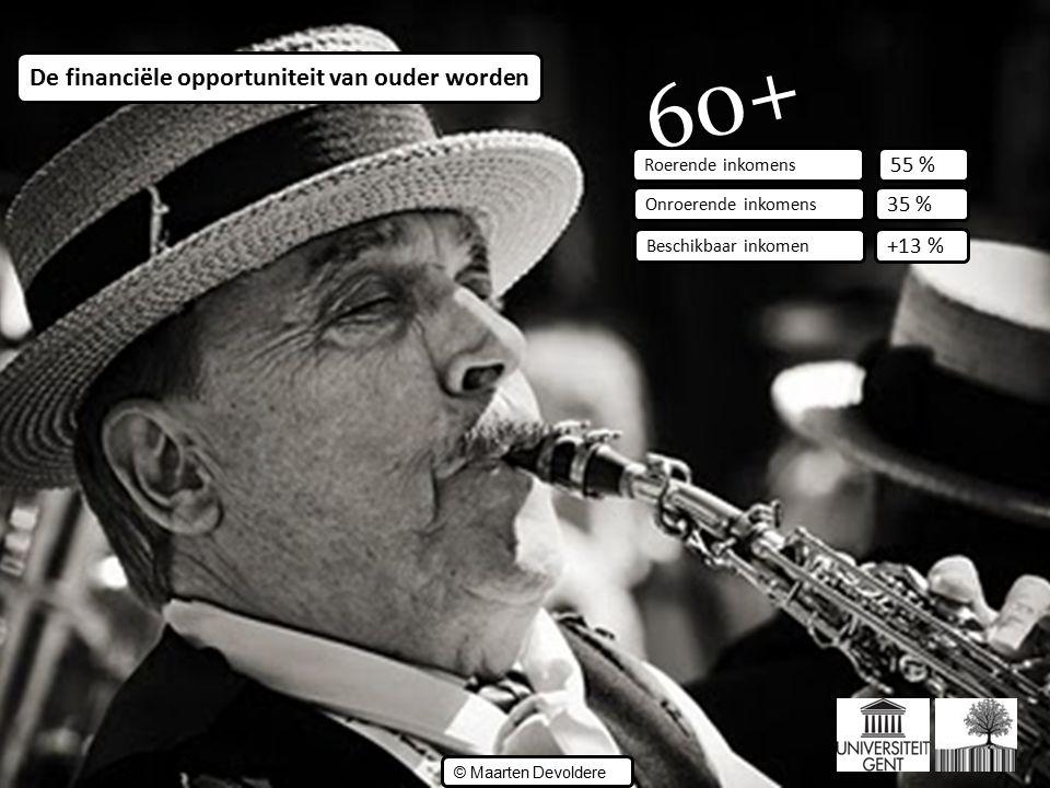 ©© © Maarten Devoldere Roerende inkomens 60+ Onroerende inkomens Beschikbaar inkomen 35 % +13 % 55 % De financiële opportuniteit van ouder worden