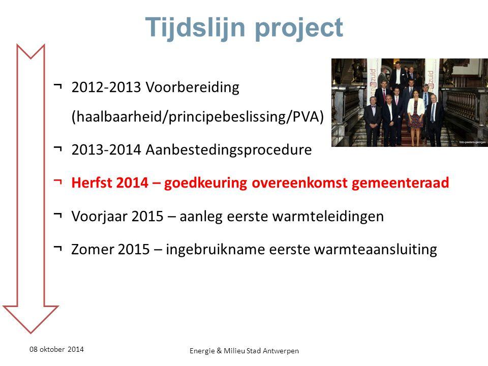 Warmtenet Noord - Aanpak 08 oktober 2014Energie & Milieu Stad Antwerpen