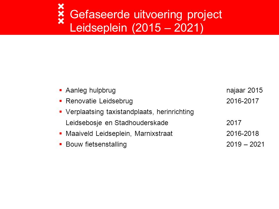  Aanleg hulpbrugnajaar 2015  Renovatie Leidsebrug2016-2017  Verplaatsing taxistandplaats, herinrichting Leidsebosje en Stadhouderskade2017  Maaive