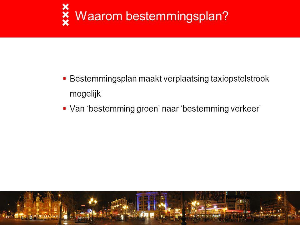 Waarom bestemmingsplan?  Bestemmingsplan maakt verplaatsing taxiopstelstrook mogelijk  Van 'bestemming groen' naar 'bestemming verkeer'