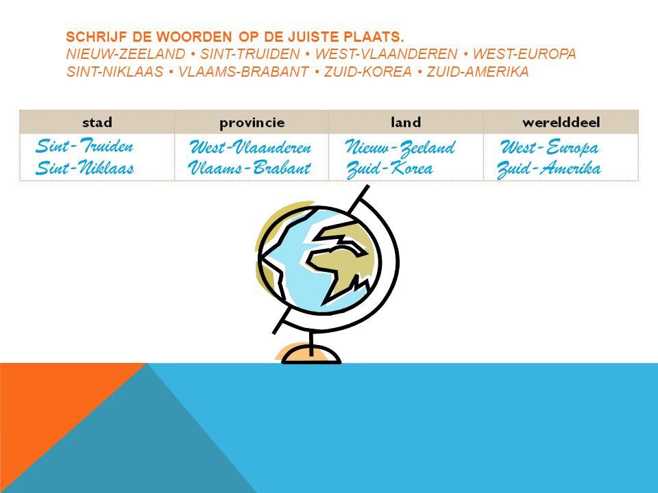 SCHRIJF DE WOORDEN OP DE JUISTE PLAATS.