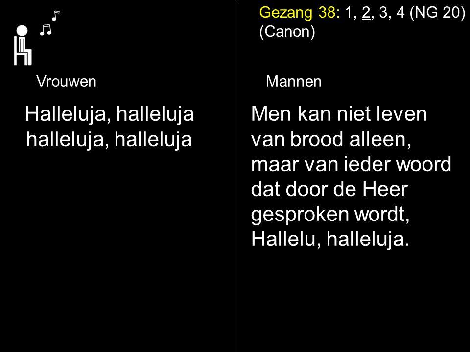 Gezang 38: 1, 2, 3, 4 (NG 20) (Canon) Halleluja, halleluja halleluja, halleluja Mannen