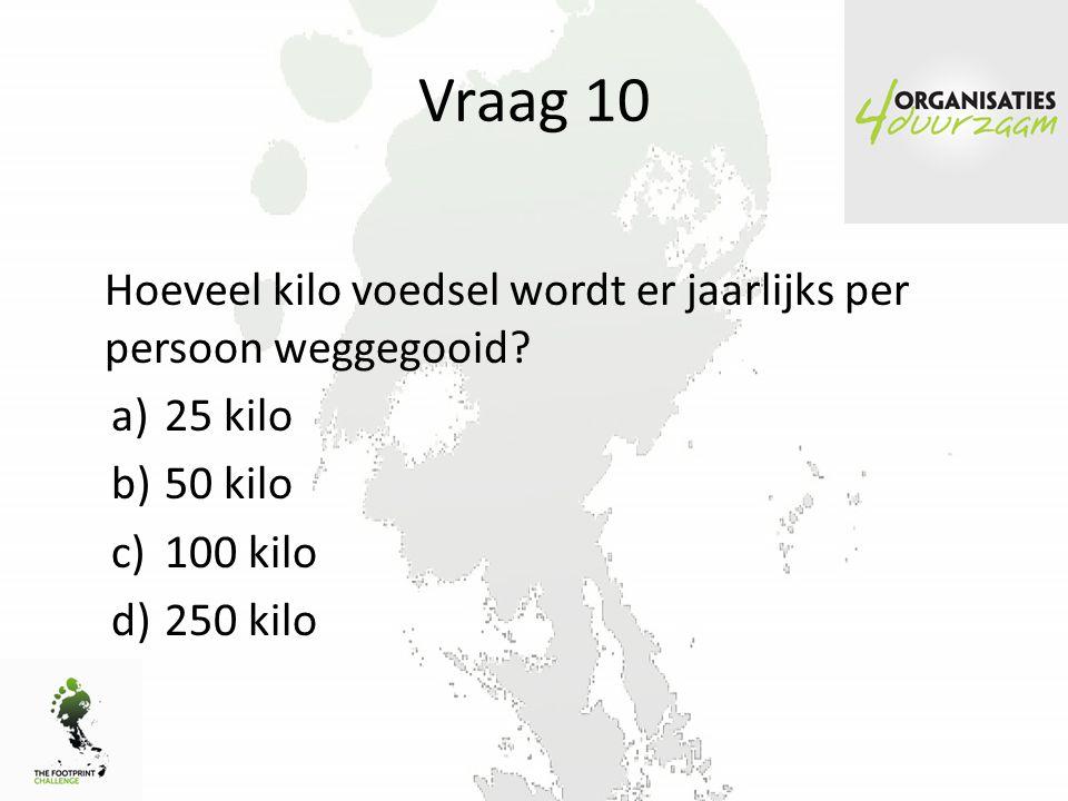 Vraag 10 Hoeveel kilo voedsel wordt er jaarlijks per persoon weggegooid.