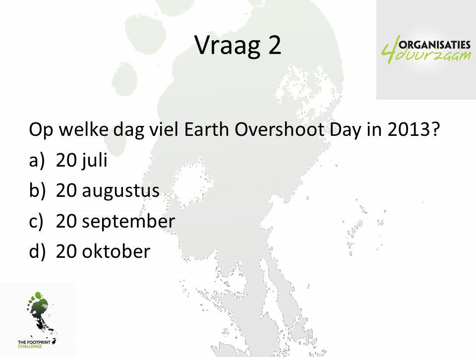 Vraag 2 Op welke dag viel Earth Overshoot Day in 2013.