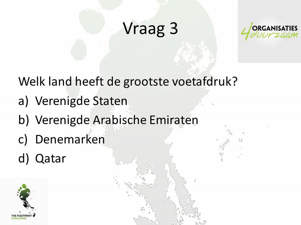 Vraag 3 Welk land heeft de grootste voetafdruk.