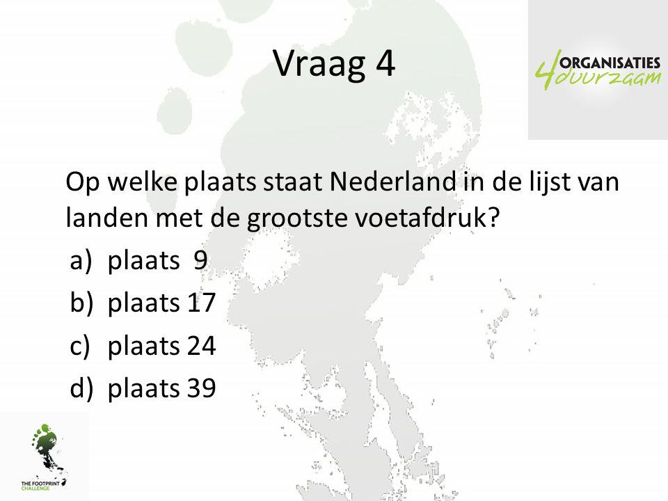 Vraag 4 Op welke plaats staat Nederland in de lijst van landen met de grootste voetafdruk.