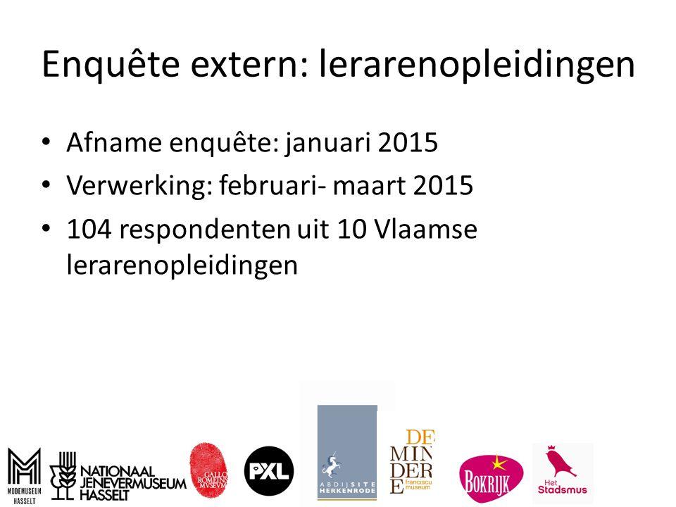 Enquête extern: lerarenopleidingen Afname enquête: januari 2015 Verwerking: februari- maart 2015 104 respondenten uit 10 Vlaamse lerarenopleidingen