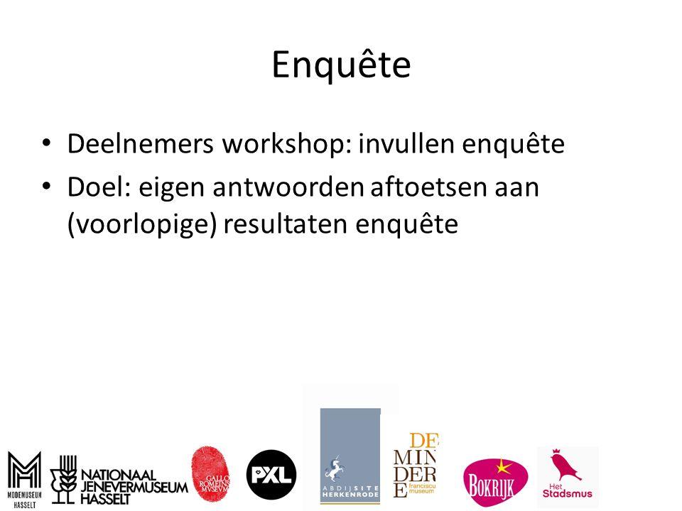 Enquête Deelnemers workshop: invullen enquête Doel: eigen antwoorden aftoetsen aan (voorlopige) resultaten enquête