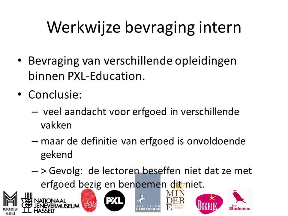 Werkwijze bevraging intern Bevraging van verschillende opleidingen binnen PXL-Education.
