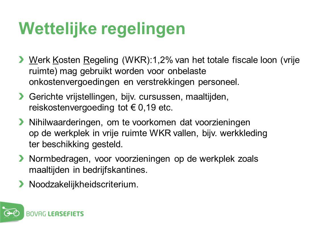 Wettelijke regelingen Werk Kosten Regeling (WKR):1,2% van het totale fiscale loon (vrije ruimte) mag gebruikt worden voor onbelaste onkostenvergoeding