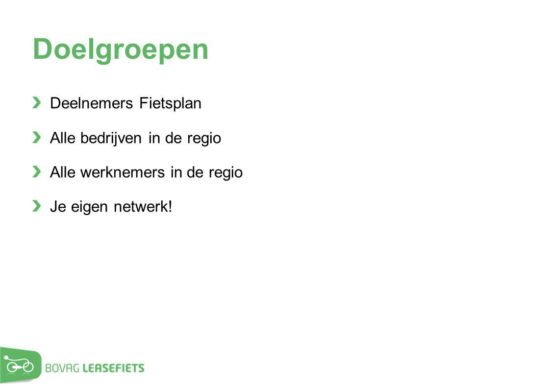 Doelgroepen Deelnemers Fietsplan Alle bedrijven in de regio Alle werknemers in de regio Je eigen netwerk!