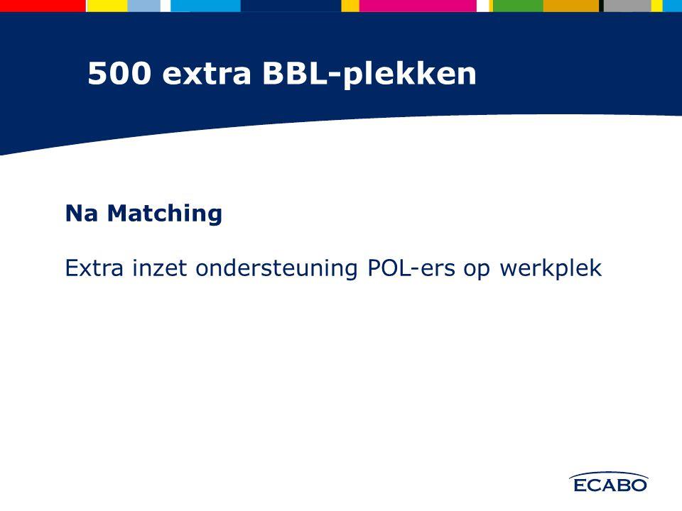 Na Matching Extra inzet ondersteuning POL-ers op werkplek 500 extra BBL-plekken