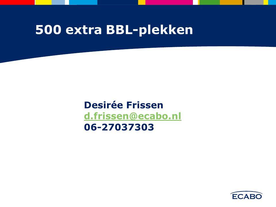 Desirée Frissen d.frissen@ecabo.nl 06-27037303 500 extra BBL-plekken