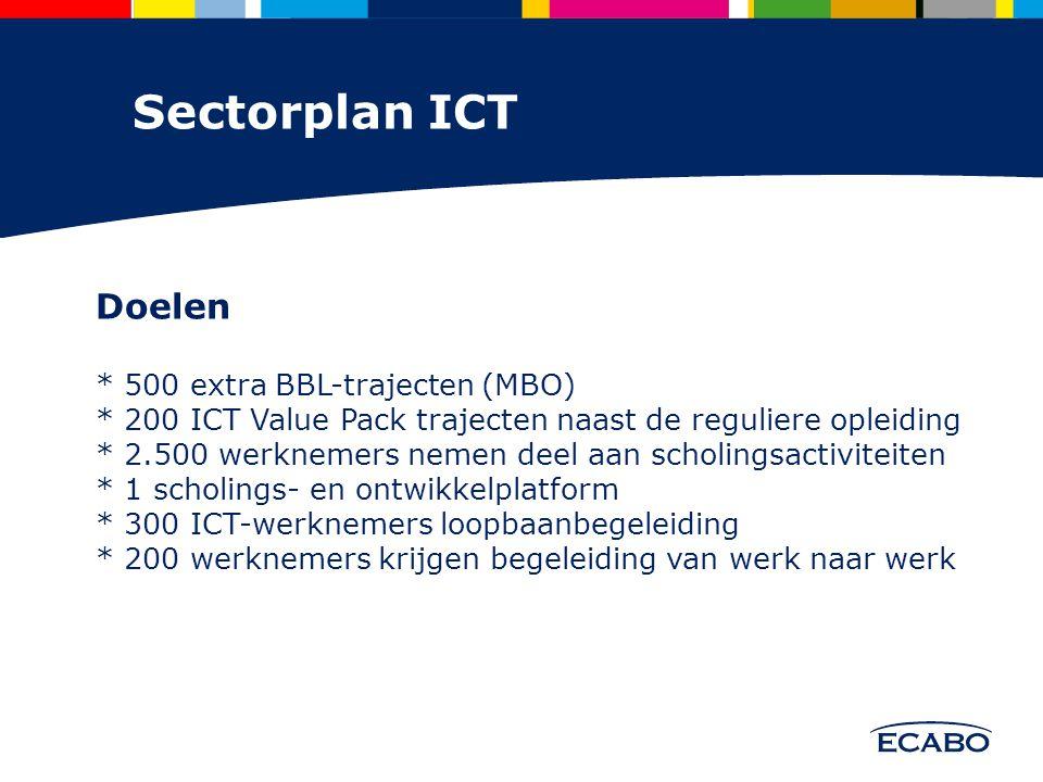 Maatregel 1 500 extra BBL plekken Bevorderen van instroom van jongeren binnen de ICT-sector middels leer-werk trajecten.