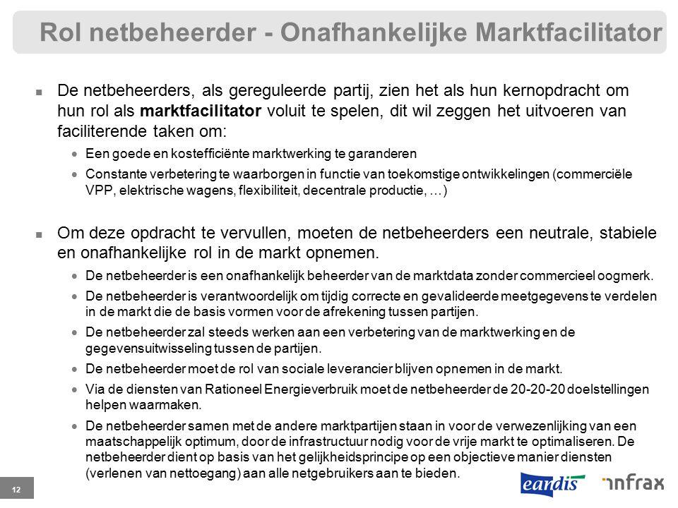 Rol netbeheerder - Onafhankelijke Marktfacilitator De netbeheerders, als gereguleerde partij, zien het als hun kernopdracht om hun rol als marktfacili
