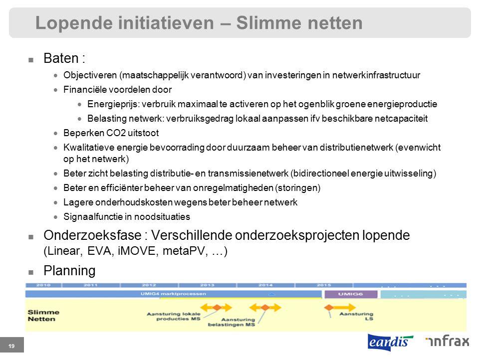 Lopende initiatieven – Slimme netten 19 Baten :  Objectiveren (maatschappelijk verantwoord) van investeringen in netwerkinfrastructuur  Financiële voordelen door  Energieprijs: verbruik maximaal te activeren op het ogenblik groene energieproductie  Belasting netwerk: verbruiksgedrag lokaal aanpassen ifv beschikbare netcapaciteit  Beperken CO2 uitstoot  Kwalitatieve energie bevoorrading door duurzaam beheer van distributienetwerk (evenwicht op het netwerk)  Beter zicht belasting distributie- en transmissienetwerk (bidirectioneel energie uitwisseling)  Beter en efficiënter beheer van onregelmatigheden (storingen)  Lagere onderhoudskosten wegens beter beheer netwerk  Signaalfunctie in noodsituaties Onderzoeksfase : Verschillende onderzoeksprojecten lopende (Linear, EVA, iMOVE, metaPV, …) Planning