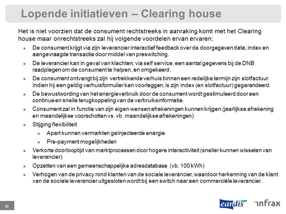 Lopende initiatieven – Clearing house 22 Het is niet voorzien dat de consument rechtstreeks in aanraking komt met het Clearing house maar onrechtstree