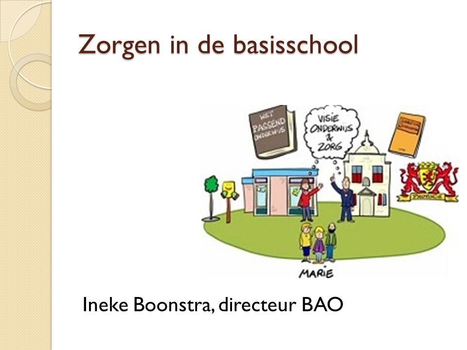 Zorgen in de basisschool Ineke Boonstra, directeur BAO