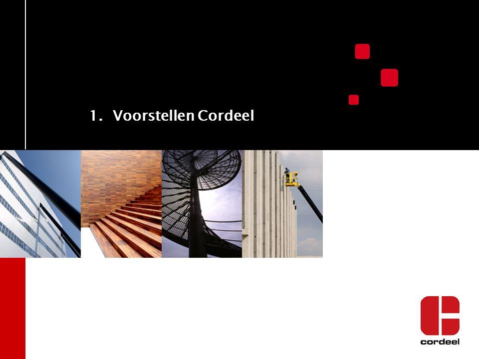 CORDEEL in NEDERLAND Cordeel in Nederland Historie: –1985 start activiteit in Nederland –1999 overname van Mabuwat (1945) –2003 naamswijziging naar Cordeel Nederland BV –2013 participatie in Geelen vastgoed en bouw (1893 ) 100% Dochter van Cordeel Group Omzet : 100 miljoen euro Werknemers : > 140 ISO 9001/ ISO 14001, VCA** & VCA P gecertificeerd Vestigingen in Zwijndrecht (Rotterdam), Vlissingen en Neer (Roermond) Eigen Engineering, Timmerfabriek en Materieeldienst