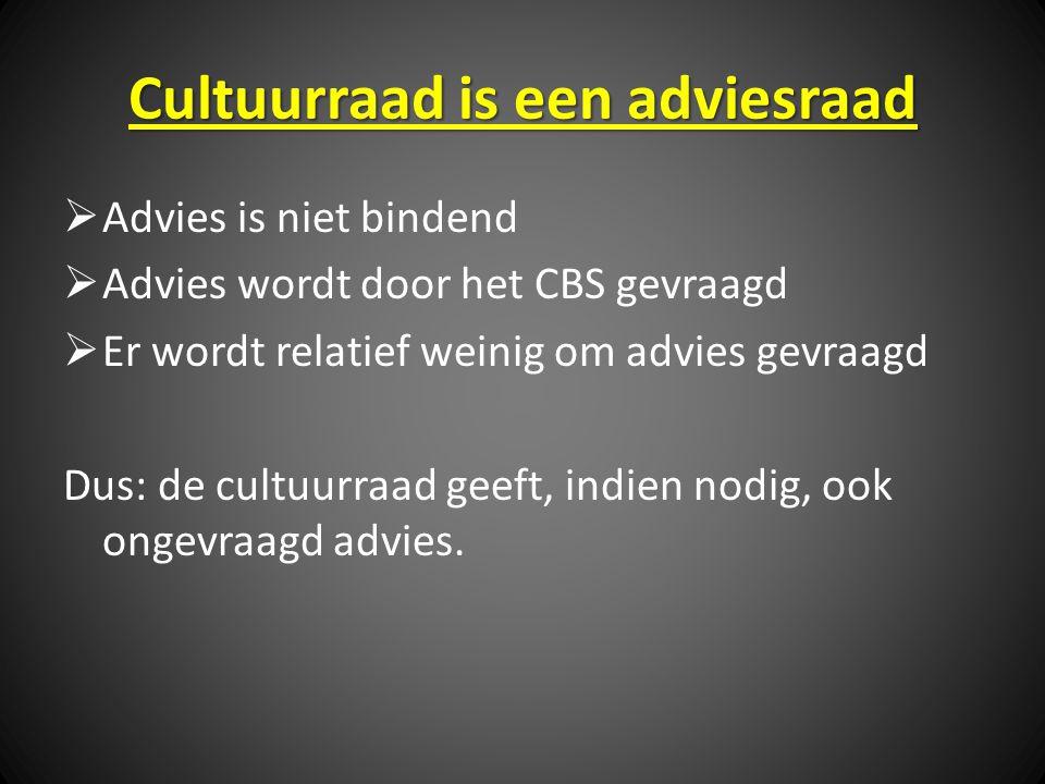 Cultuurraad is een adviesraad  Advies is niet bindend  Advies wordt door het CBS gevraagd  Er wordt relatief weinig om advies gevraagd Dus: de cultuurraad geeft, indien nodig, ook ongevraagd advies.