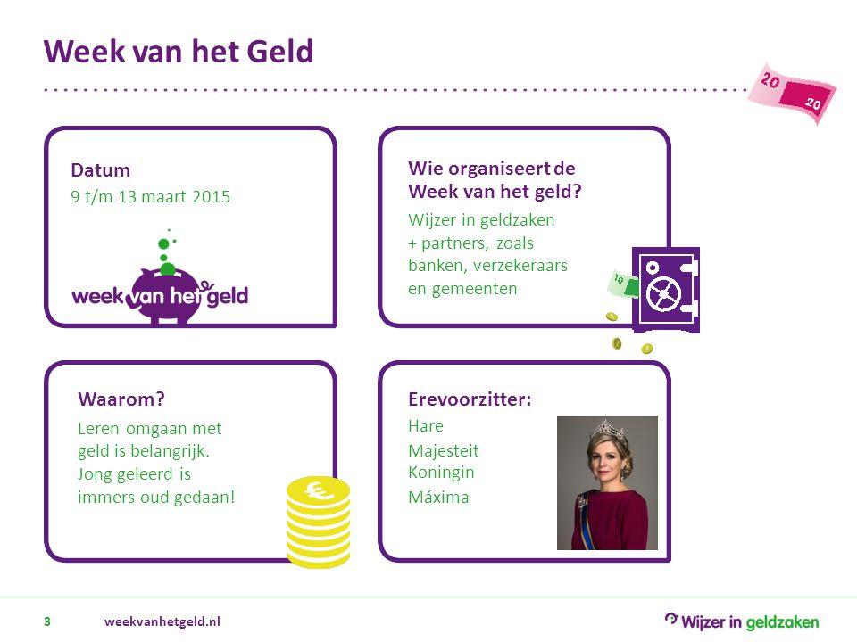 Week van het Geld weekvanhetgeld.nl3 Datum 9 t/m 13 maart 2015 Wie organiseert de Week van het geld? Wijzer in geldzaken + partners, zoals banken, ver