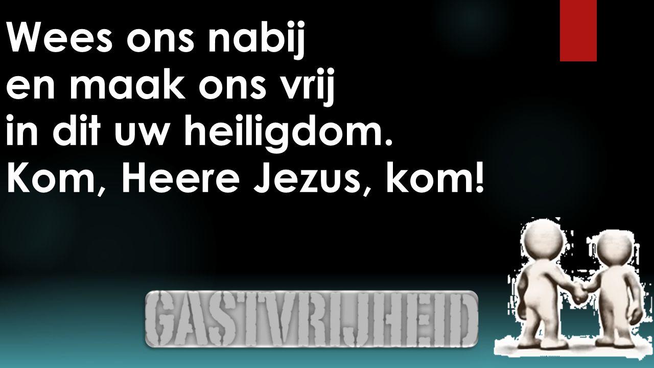Wees ons nabij en maak ons vrij in dit uw heiligdom. Kom, Heere Jezus, kom!