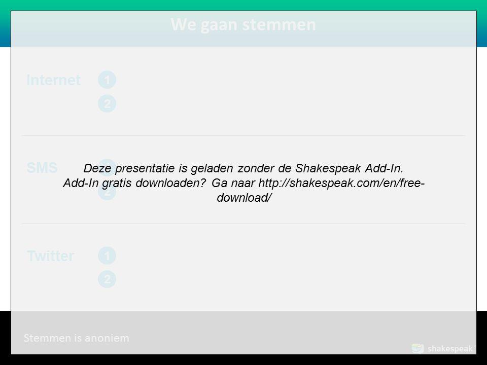 www.shakespeak.com We gaan stemmen SMS 1 2 Internet 1 2 Stemmen is anoniem Twitter 1 2 Deze presentatie is geladen zonder de Shakespeak Add-In.