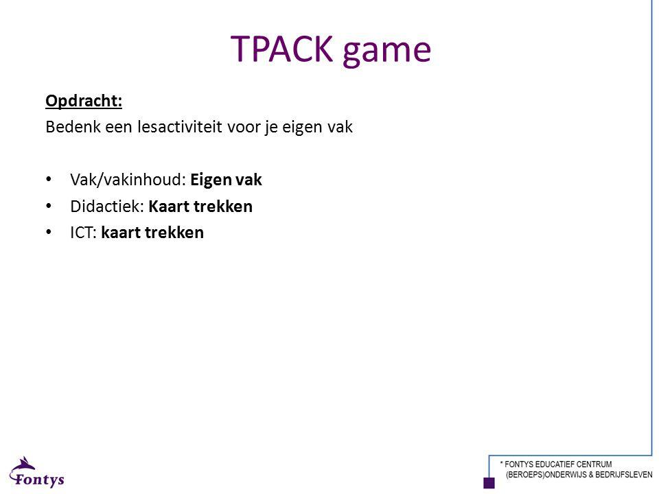 TPACK game Opdracht: Bedenk een lesactiviteit voor je eigen vak Vak/vakinhoud: Eigen vak Didactiek: Kaart trekken ICT: kaart trekken