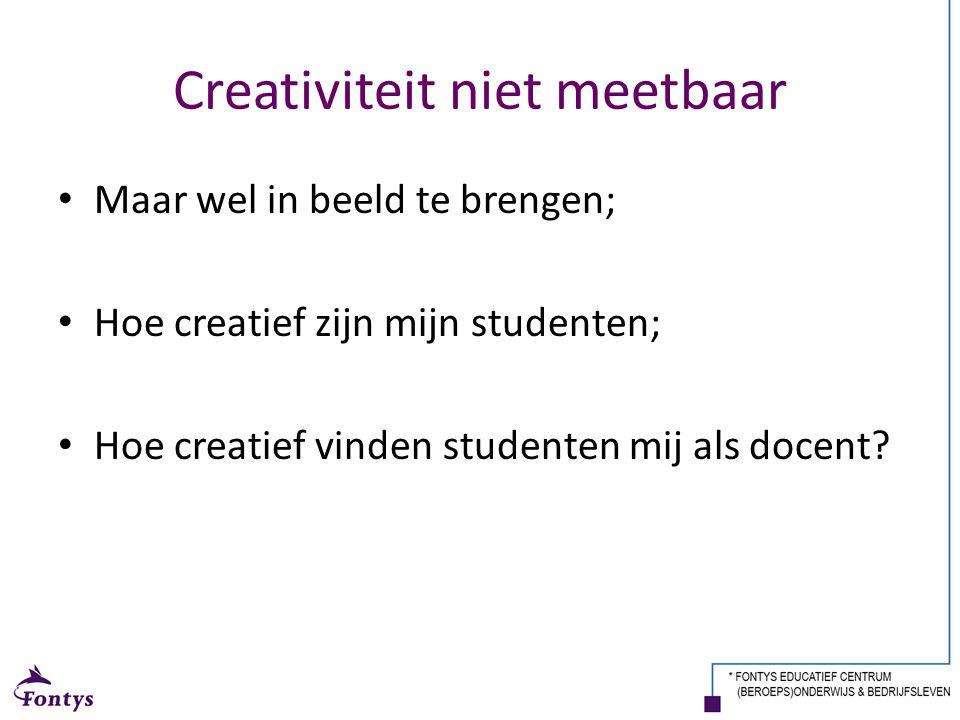 Creativiteit niet meetbaar Maar wel in beeld te brengen; Hoe creatief zijn mijn studenten; Hoe creatief vinden studenten mij als docent?