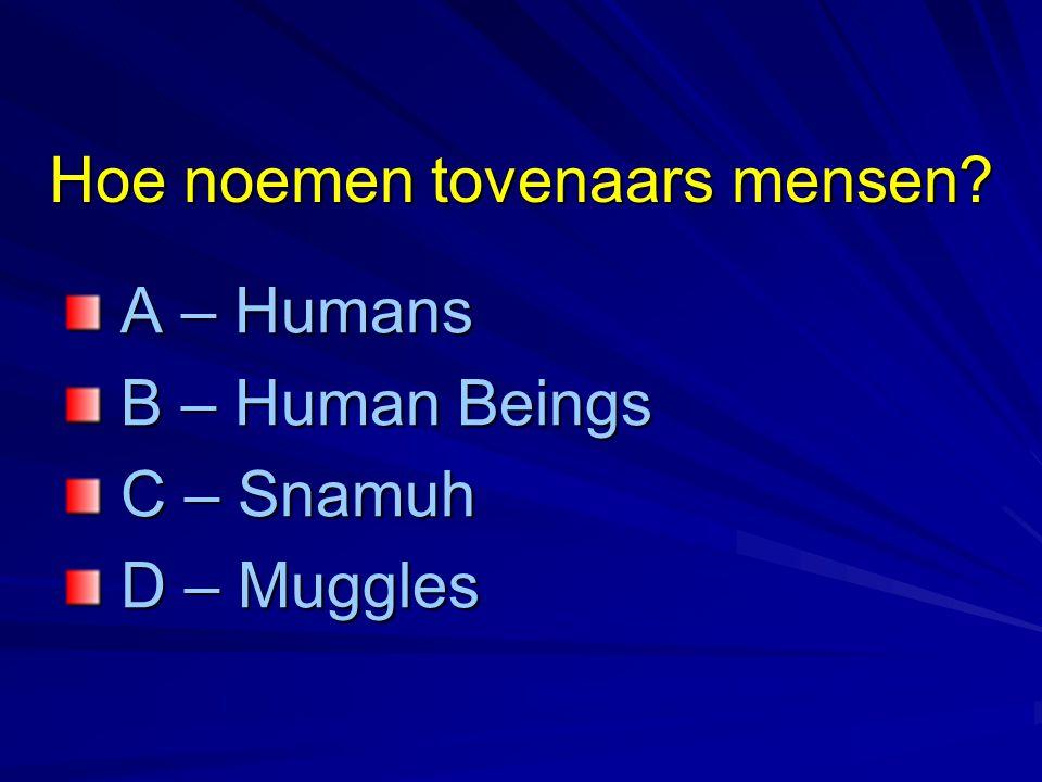 Hoe noemen tovenaars mensen? A – Humans A – Humans B – Human Beings B – Human Beings C – Snamuh C – Snamuh D – Muggles D – Muggles