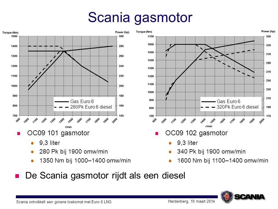 Scania ontwikkelt een groene toekomst met Euro 6 LNG Hardenberg, 19 maart 2014 Scania gasmotor De Scania gasmotor rijdt als een diesel OC09 101 gasmot