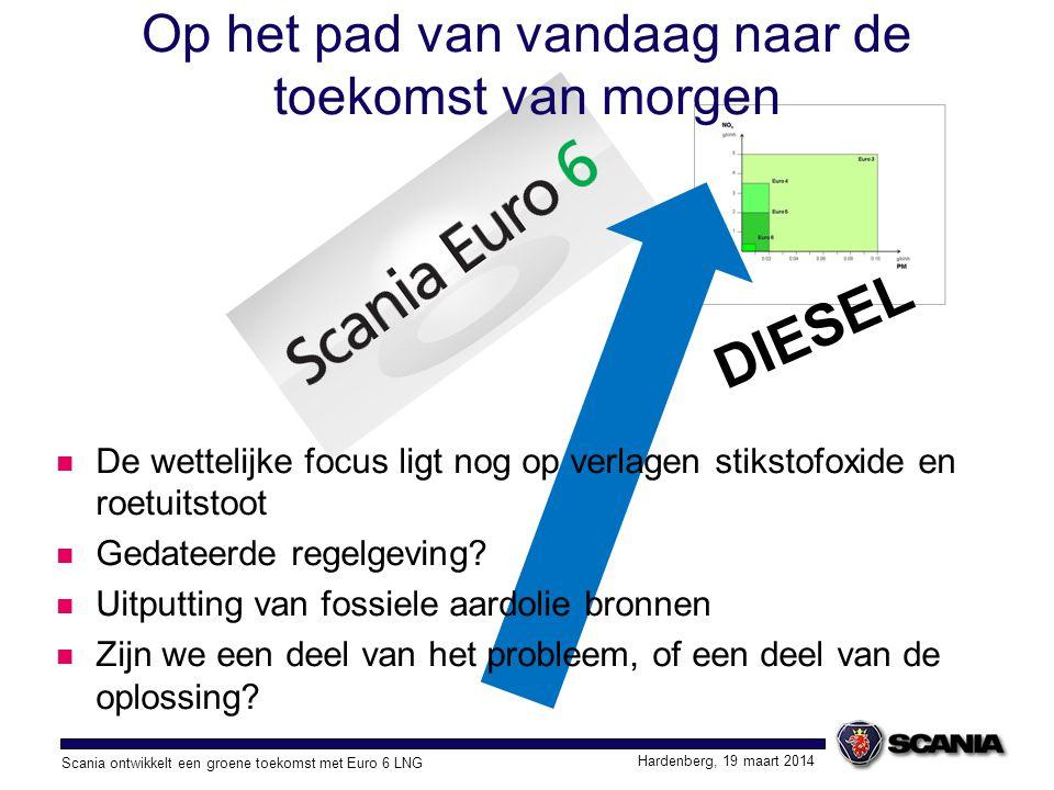 Scania ontwikkelt een groene toekomst met Euro 6 LNG Hardenberg, 19 maart 2014 Op het pad van vandaag naar de toekomst van morgen Maatschappelijk verantwoord ondernemen Gericht op winst, met respect voor de mens en wat goed is voor onze planeet Aandacht verplaatst naar CO 2 verlaging Transport efficiënter inrichten Focus op de chauffeur en specificatie van het voertuig